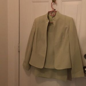 3 piece outfit jacket, skirt and top lime green
